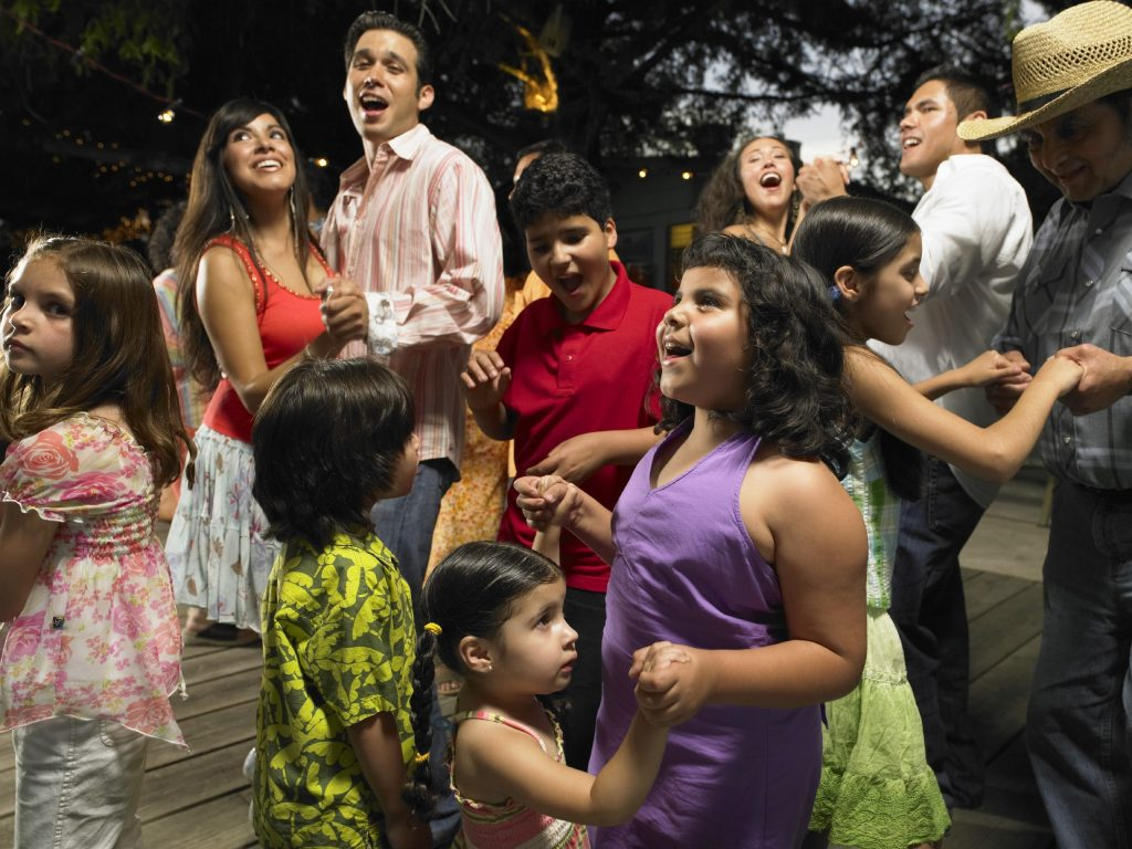 Large family at outdoor party